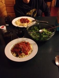 Mt Cook pasta dinner