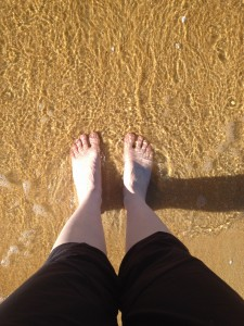 Feet, sand, water. That's all.