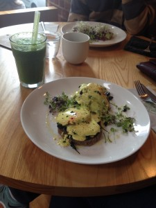Portobellos benedict and a green smoothie
