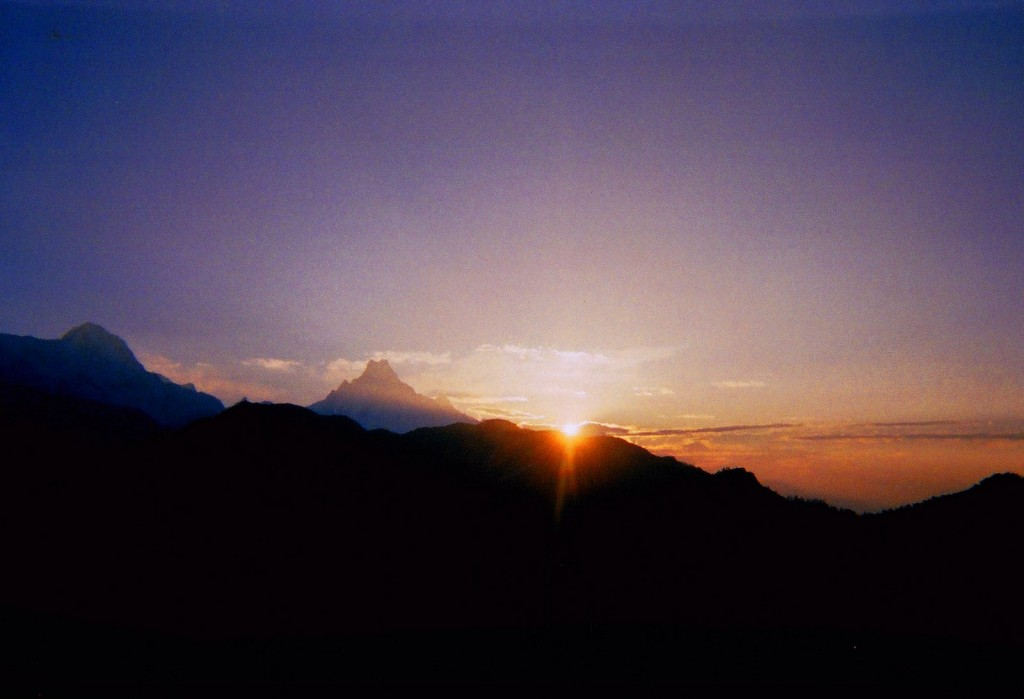 "Sunrise and Macchapuchre (""Fishtail Mountain"") from Poon Hill"