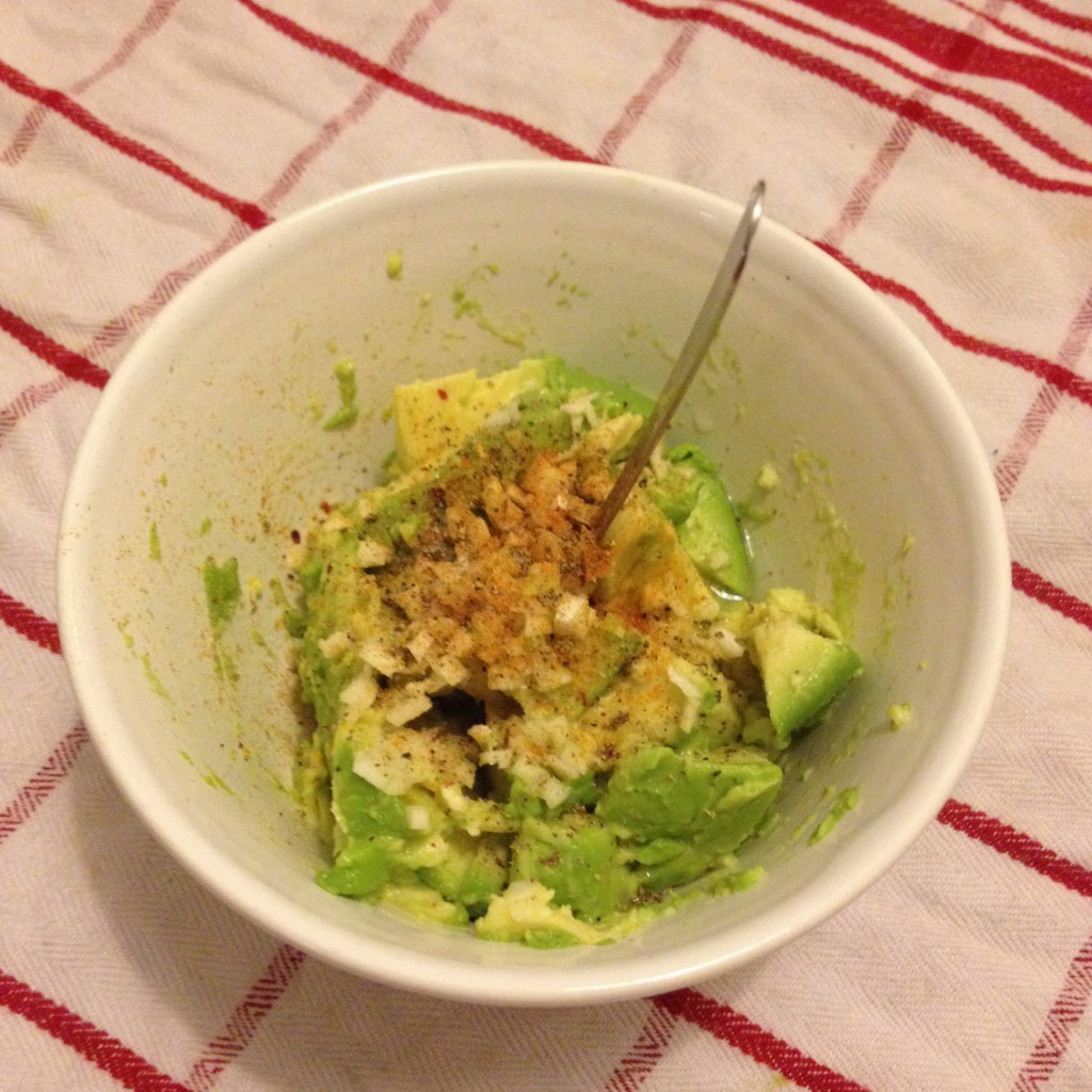 Mashed avocado, plenty of garlic, three kinds of pepper, cumin and lime juice