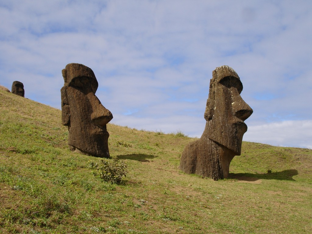 Half-finished Moai seemingly growing out of Rano Raraku, one of the island's volcanoes