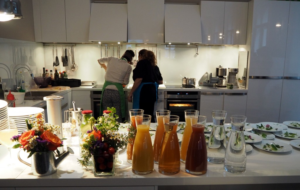 Parvin Rezavi cooking up a vegan storm. (Also, can I please have this kitchen?)