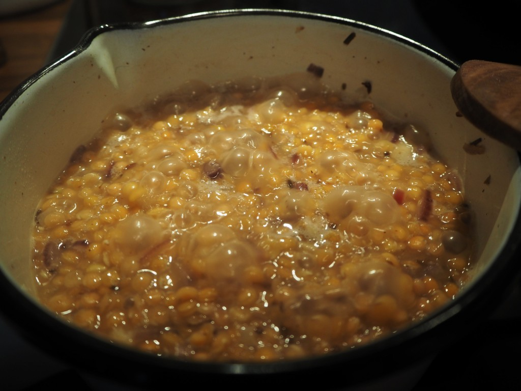 Lentils boiling vigorously (just after adding water)