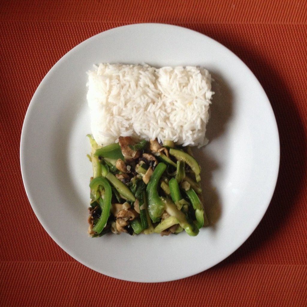 Asian-style vegetables with rice