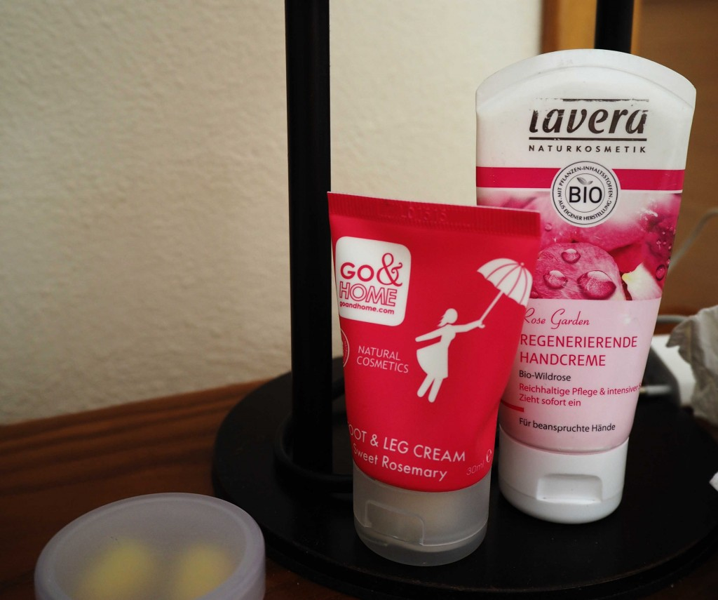 Go & Home foot cream , Lavera hand cream and ear plugs