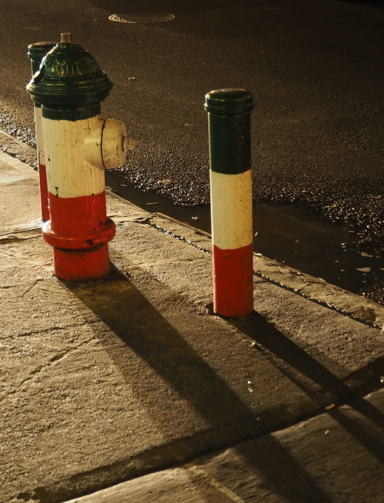 Fire hydrant and poles in Little Italy, New York City