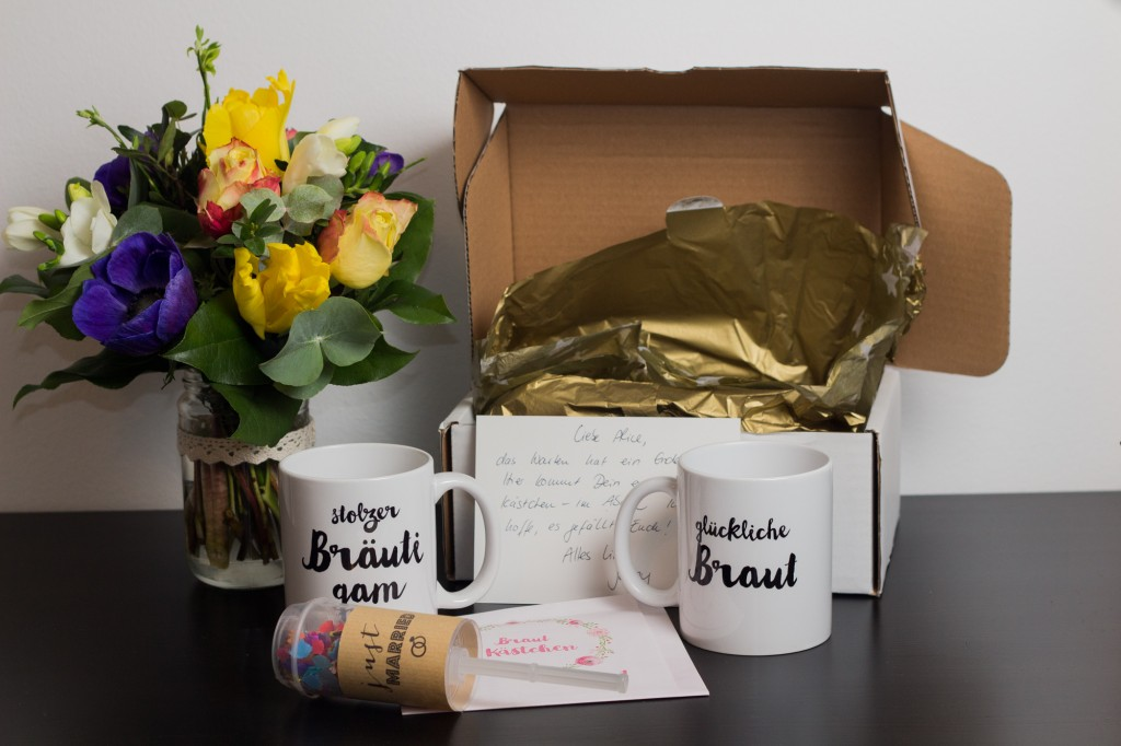 Brautkästchen - mugs & confetti popper