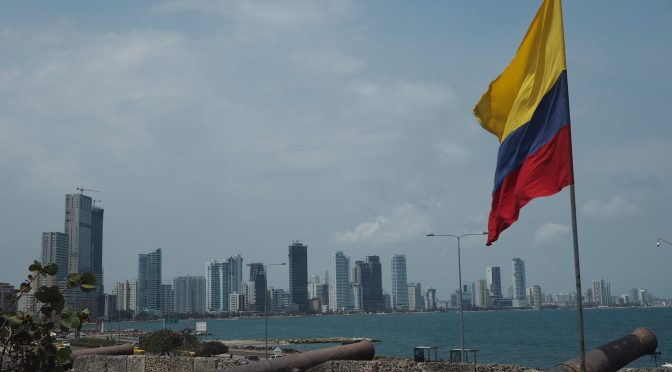 Bocagrande Cartagena from the city walls flag